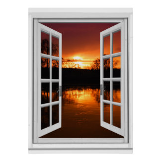 Sunset View Fake Window Poster