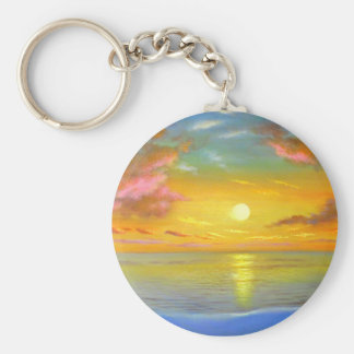 Sunset View Seascape Landscape Painting - Multi Basic Round Button Keychain