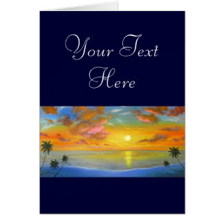 Sunset View Seascape Landscape Painting - Multi Greeting Card