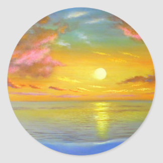 Sunset View Seascape Landscape Painting - Multi Classic Round Sticker