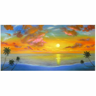 Sunset View Seascape Landscape Painting - Multi Cutout
