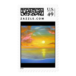 Sunset View Seascape Landscape Painting - Multi Postage Stamps