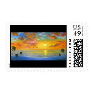 Sunset View Seascape Landscape Painting - Multi Postage Stamp