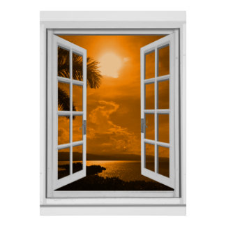 Sunset View Trompe l'oeil Fake Window Poster