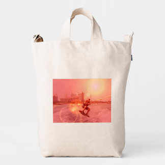 Sunset Wakeboarder Duck Canvas Bag