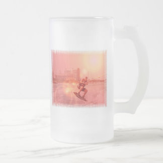 Sunset Wakeboarder Frosted Beer Mug