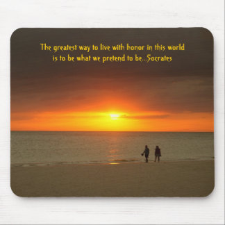 Sunset walk on the beach mousepad