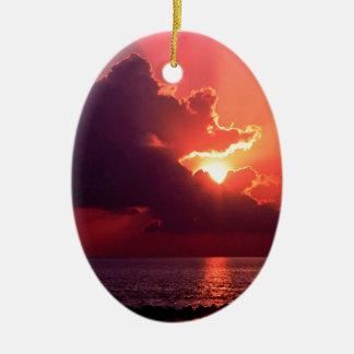 Sunset Waning Rays Florida Ceramic Ornament
