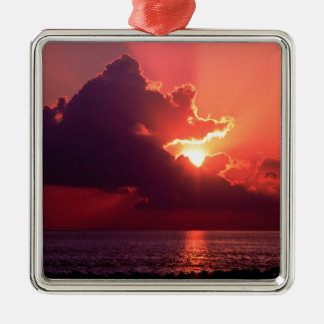 Sunset Waning Rays Florida Metal Ornament