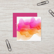 Sunset Watercolor Blot | Social Media Square Business Card