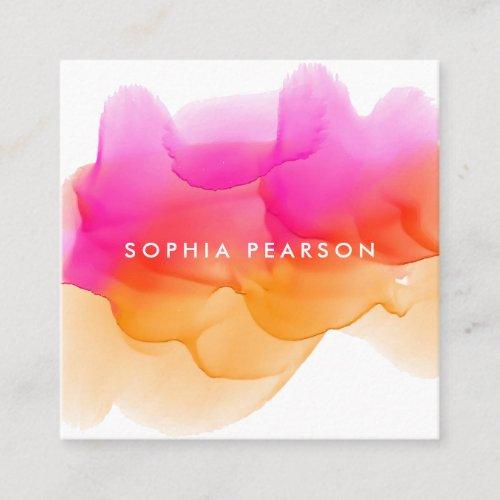 Sunset Watercolor Blot  Social Media Square Business Card
