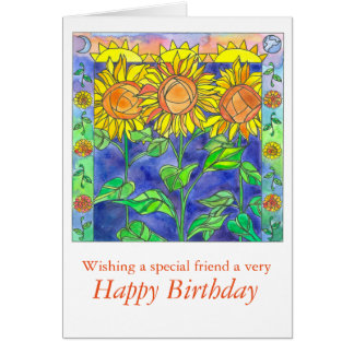 Sunset Watercolor Sunflowers Happy Birthday Friend Card