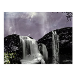 Sunset Waterfall Gothic Landscape fantasy Postcard