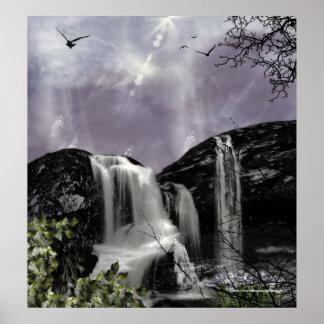 Sunset Waterfall Gothic Landscape fantasy Print
