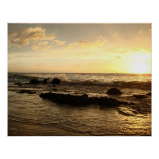 Sunset: waves crashing poster
