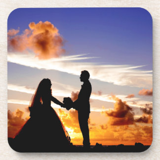 Sunset Wedding Couple Beverage Coaster