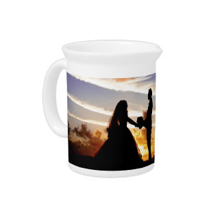 Sunset Wedding Couple Beverage Pitcher