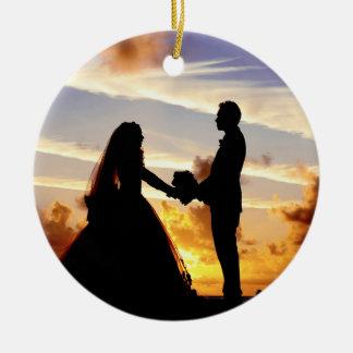 Sunset Wedding Couple Ceramic Ornament