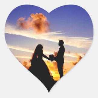 Sunset Wedding Couple Heart Sticker