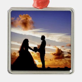Sunset Wedding Couple Metal Ornament