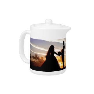 Sunset Wedding Couple Teapot