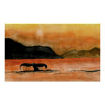 Sunset Whale Tail Print