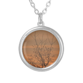Sunset whit tree branches, colorful sky silver plated necklace