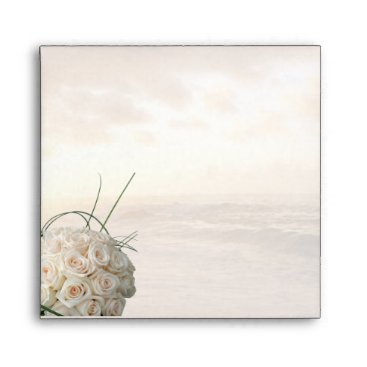 Beach Themed Sunset & White Rose Bouquet Envelope