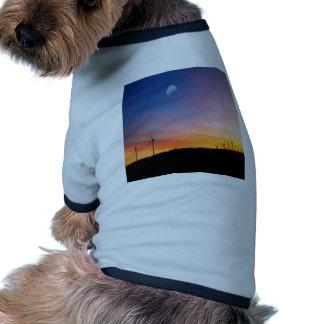 Sunset Wind Farm Distant Dog Tee Shirt