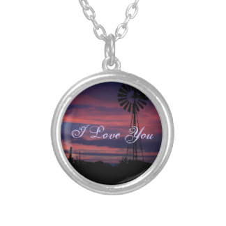 Sunset Windmill I Love You Silver Plated Necklace
