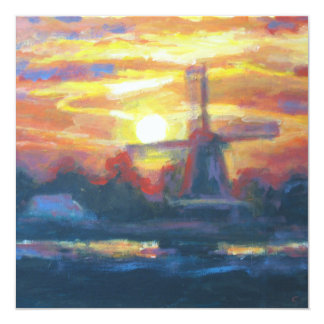Sunset Windmill Painting Card