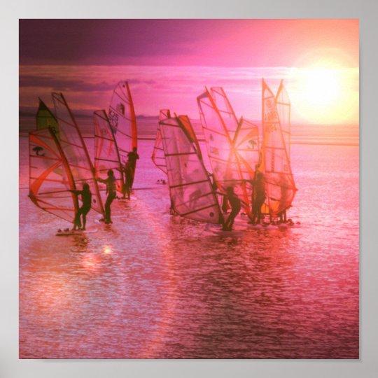 Sunset Windsurfing Poster Print