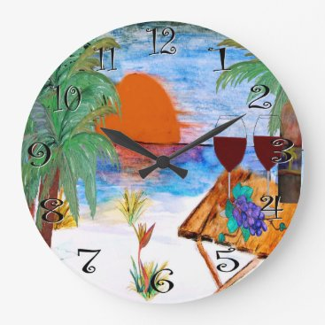 Sunset wine wall clock