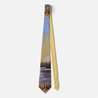 sunset winter landscape painting colorful art tie