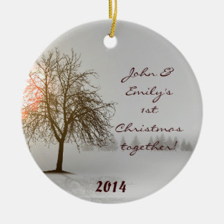 Sunset Winter Tree Bare Personalized Name Ornament