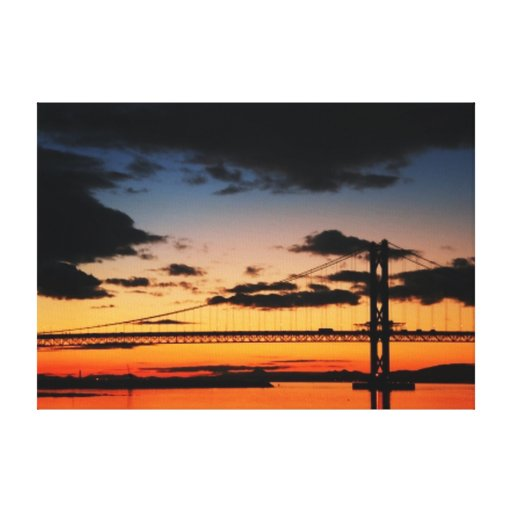 Sunset With A Bridge Wrapped Canvas Gallery Wrap Canvas