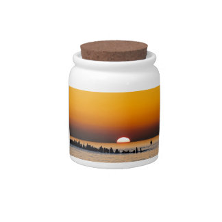 Sunset with angler on shore of the Baltic Sea Candy Dishes