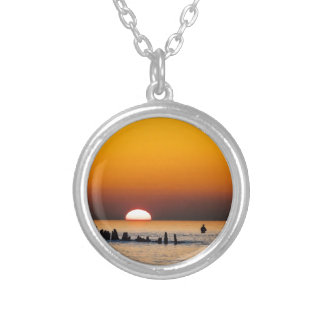 Sunset with angler on shore of the Baltic Sea Custom Necklace