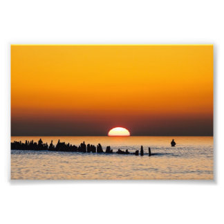 Sunset with angler on shore of the Baltic Sea Photo Print