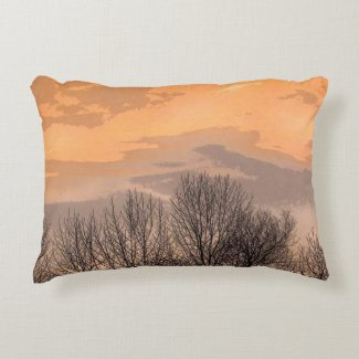 Sunset with Bare Trees Accent Pillow