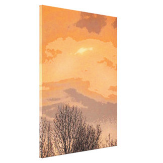 Sunset with Bare Trees Canvas Print