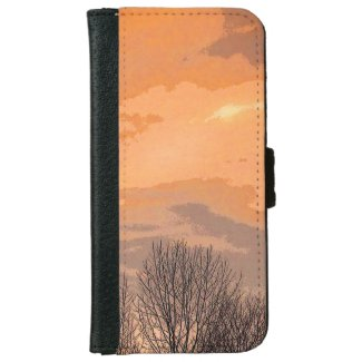 Sunset with Bare Trees iPhone 6 Wallet Case
