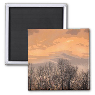 Sunset with Bare Trees Magnet