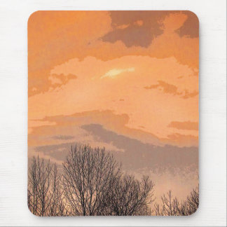 Sunset with Bare Trees Mouse Pad