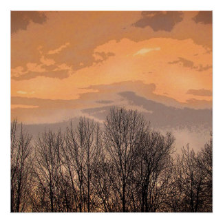 Sunset with Bare Trees Poster
