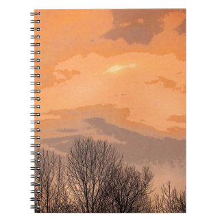 Sunset with Bare Trees Spiral Notebook
