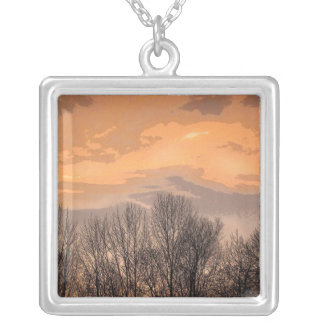 Sunset with Bare Trees Square Pendant Necklace