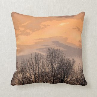 Sunset with Bare Trees Throw Pillow