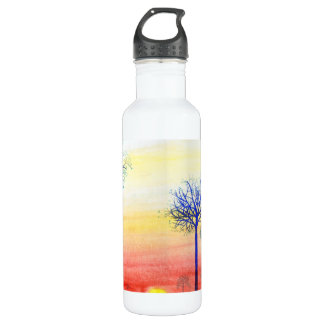 Sunset with Blue Trees Stainless Steel Water Bottle