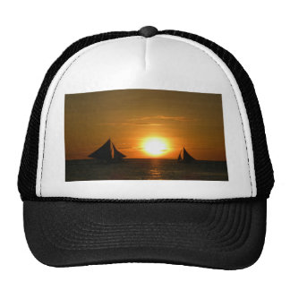 Sunset with Boat Mesh Hat